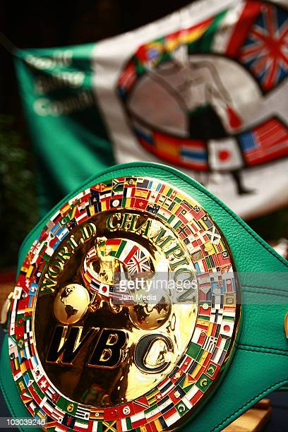 Detail of the belt of WBC Mini Flyweight World Champion during a press conference at Hotel Geneve on July 22, 2010 in Mexico City, Mexico.