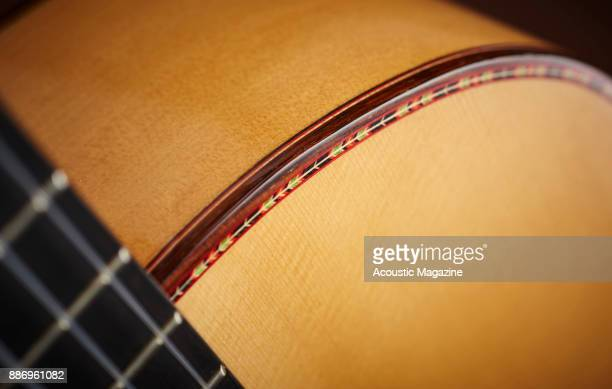 Detail of the binding on a Manuel Rodriguez Model FF flamenco classical guitar taken on February 3 2017