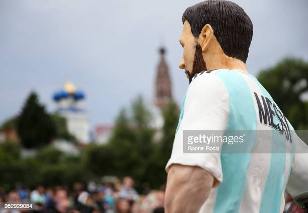 Detail of the birthday cake with the figure of Lionel Messi during a celebration made by fans and local villagers of Bronnitsy gather to commemorate...