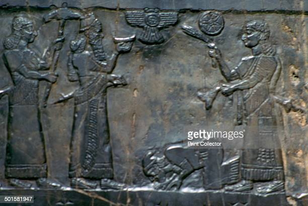 Detail of the Black Obelisk of Shalmaneser III NeoAssyrian c858c824 BC Black limestone obelisk with relief sculptures glorifying the achievements of...