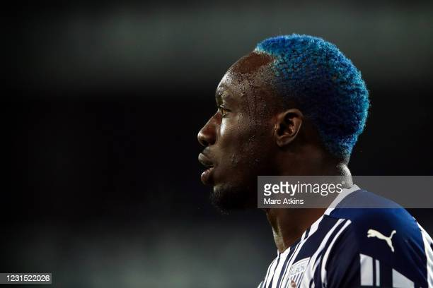Detail of the Blue hair of Mbaye Diagne of West Bromwich Albion during the Premier League match between West Bromwich Albion and Everton at The...