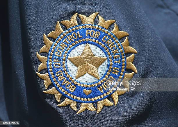 A detail of the Board of Control for Cricket in India emblem on the hat of a player during the international tour match between the Cricket Australia...