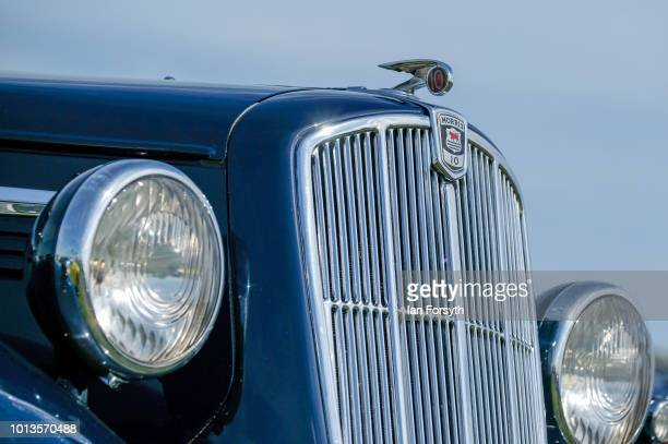 Detail of the bonnet decal of a Morris 10 motor car as it is displayed during the final day of the Whitby Traction Engine Rally on August 5, 2018 in...