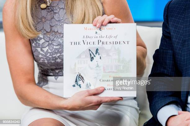 Detail of the book cover as Charlotte Pence Karen Pence and the Pence family Bunny Maroln Bundo visit Fox Friends to discuss 'Maroln Bundo's a day in...