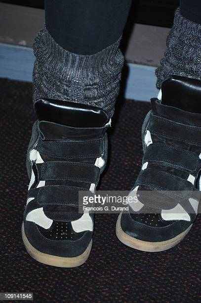 A detail of the boots of Anne De Petrini attends the 'Halal Police D'Etat' Paris Premiere at UGC Cine Cite Bercy on February 15 2011 in Paris France