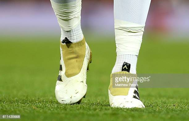 Detail of the boots of Paul Pogba of Manchester United during the UEFA Europa League match between Manchester United FC and FC Zorya Luhansk at Old...