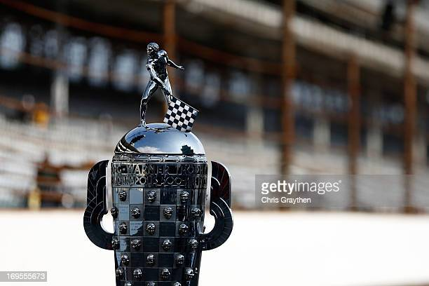 A detail of the Borg Warner Trophy during the Indianapolis 500 Mile Race Trophy Presentation and Champions Portrait Session for 2013 Indianapolis 500...
