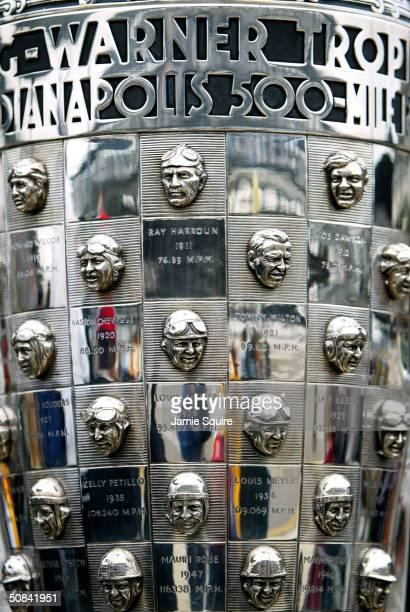 A detail of the Borg Warner Trophy is shown on display during qualifying for the Indianapolis 500 May 15 2004 at Indianapolis Motor Speedway in...