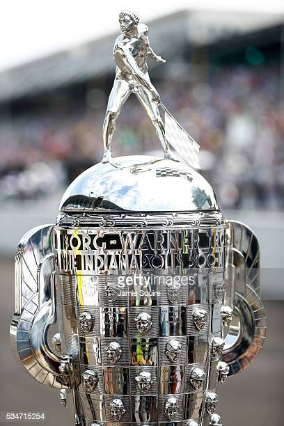 A detail of the BorgWarner trophy during Carb Day ahead of the 100th running of the Indianapolis 500 at Indianapolis Motorspeedway on May 27 2016 in...