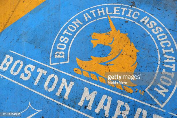 Detail of the Boston Marathon finish line on April 20, 2020 in Boston, Massachusetts. Due to the coronavirus pandemic, the race was rescheduled to...