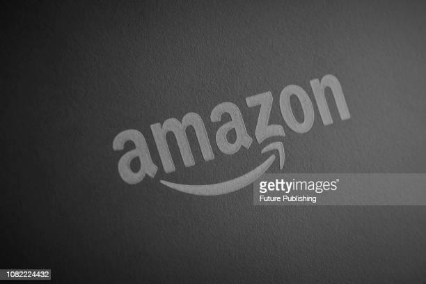 Detail of the branding on a 2nd generation Amazon Echo Show smart speaker taken on January 9 2019