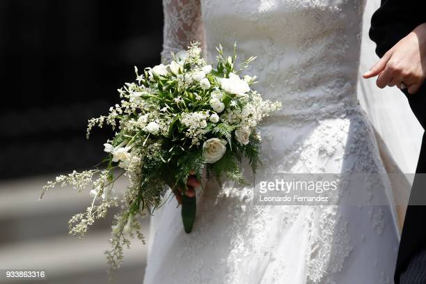 Detail of the bridal bouquet during the wedding of Prince Christian of Hanover and Alessandra de Osma at Basilica San Pedro on March 16 2018 in Lima...