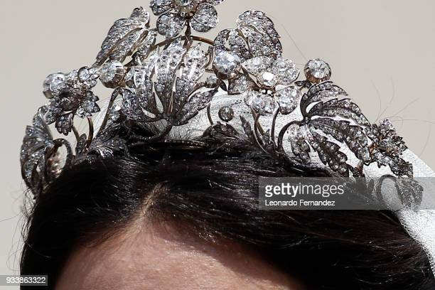 Detail of the bride's crown during the wedding of Prince Christian of Hanover and Alessandra de Osma at Basilica San Pedro on March 16 2018 in Lima...