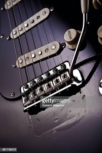 Detail of the bridge on a vintage 1969 Fender Stratocaster belonging to Pink Floyd guitarist David Gilmour known as The Black Strat taken on December...