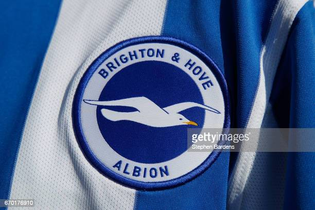 Detail of the Brighton Hove Albion's club crest on a replica shirt on April 19 2017 in Brighton England