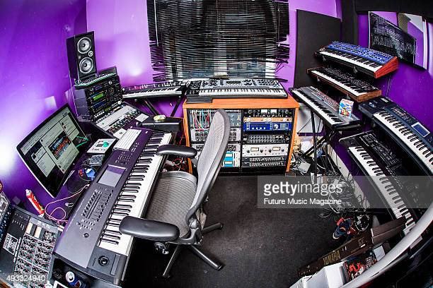 Detail of the Bristol studio belonging to English dance music producer Liam McLean, better known by his stage name Joker, on February 6, 2015.