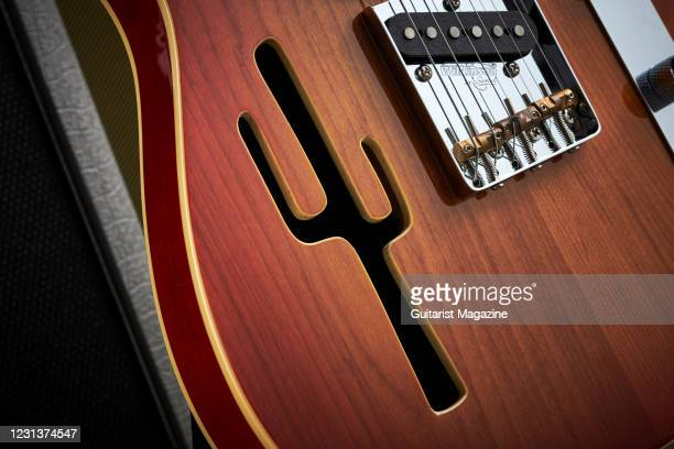 Detail of the cactus sound hole on a Joe Doe By Vintage Lucky Buck electric guitar, taken on July 17, 2020.