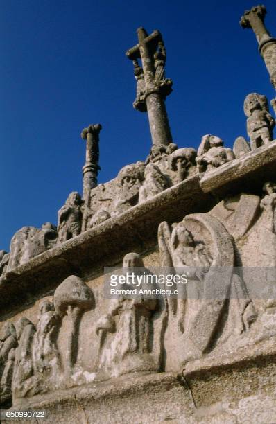 Detail of the Calvary of Notre Dame de Tronoen in Finistere France