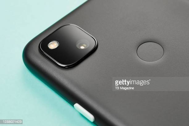 Detail of the camera on a Google Pixel 4a smartphone, taken on August 10, 2020.