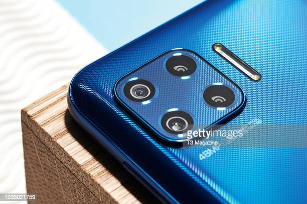 Detail of the cameras on a Motorola G 5G Plus smartphone, taken on August 5, 2020.