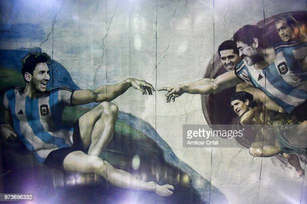 Detail of the canvas on the roof of Sportivo Pereyra de Barracas club on June 13 2018 in Buenos Aires Argentina The mural was painted in the ceiling...