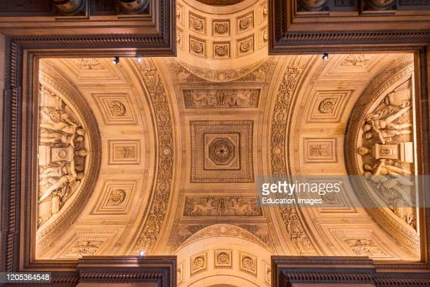 Detail of the ceiling in the Louvre Museum, Paris, France.