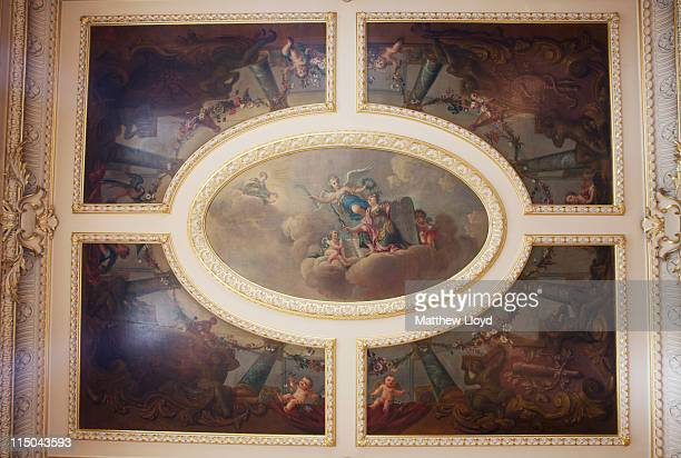Detail of the ceiling of the music room in Highclere Castle on March 15, 2011 in Newbury, England. Highclere Castle has been the ancestral home of...