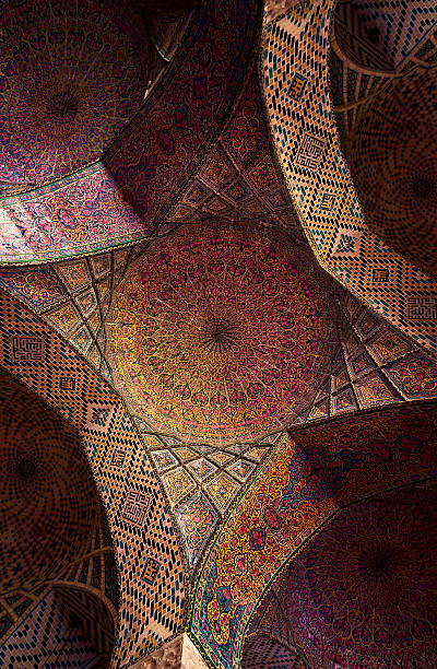 Detail Of The Ceiling Tilework Decoration In Pink Mosque Wall Art