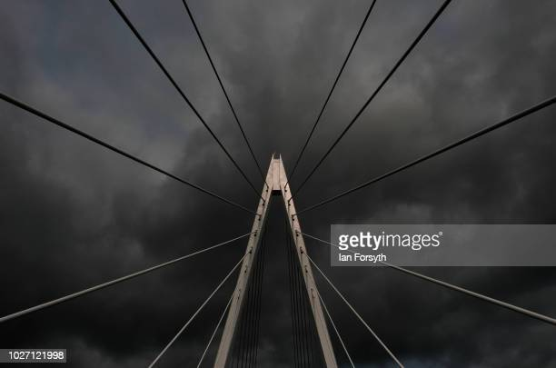 Detail of the central pylon as the new Northern Spire bridge spanning the River Wear opens for a pedestrian walkover on August 28 2018 in Sunderland...