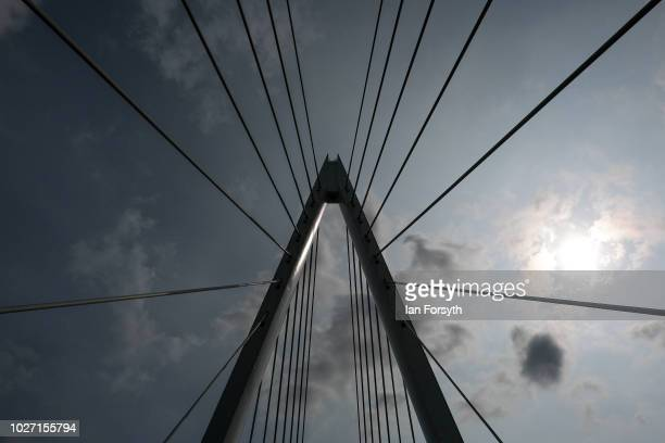 Detail of the central pylon of the new Northern Spire bridge spanning the River Wear as it opens for a pedestrian walkover on August 28 2018 in...