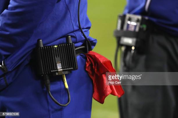 A detail of the challenge flag carried by head coach Ben McAdoo of the New York Giants during the second half against the Washington Redskins at...