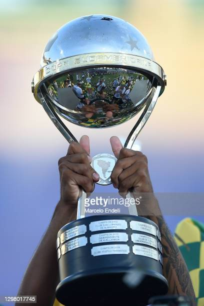 Detail of the champions trophy after the final of Copa CONMEBOL Sudamericana 2020 between Lanús and Defensa y Justicia at Mario Alberto Kempes...