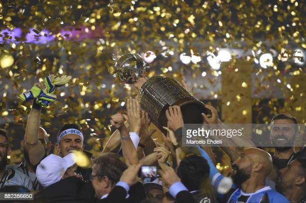 Detail of the champions trophy after the second leg match between Lanus and Gremio as part of Copa Bridgestone Libertadores 2017 Final at Ciudad de...