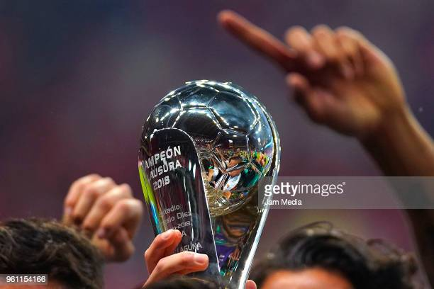 Detail of the Championship Trophy after Santos Laguna's victory in the Final second leg match between Toluca and Santos Laguna as part of the Torneo...
