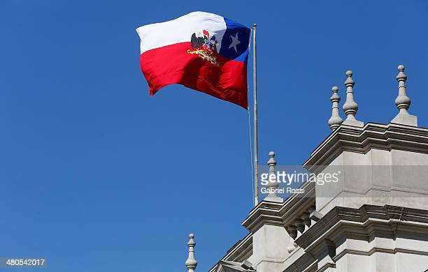 Detail of the Chilean flag at Palacio de la Moneda on March 17 2014 in Santiago Chile