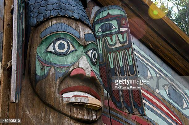 Detail of the clan house at the Totem Bight State Historical Park in Ketchikan Southeast Alaska USA