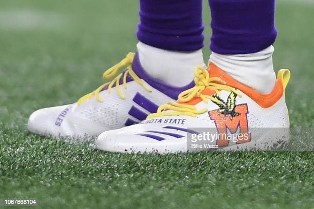 A detail of the cleats of Adam Thielen of the Minnesota Vikings during the game against the New England Patriots at Gillette Stadium on December 2...