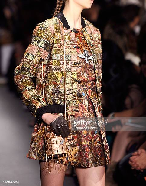 A detail of the clothing ispictured on the runway at the Teca por Helo Rocha fashion show during Sao Paulo Fashion Week Winter 2015 at Parque Candido...