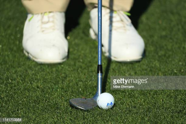Detail of the club and ball of Rafael Cabrera-Bello of Spain during a practice round prior to the Masters at Augusta National Golf Club on April 10,...