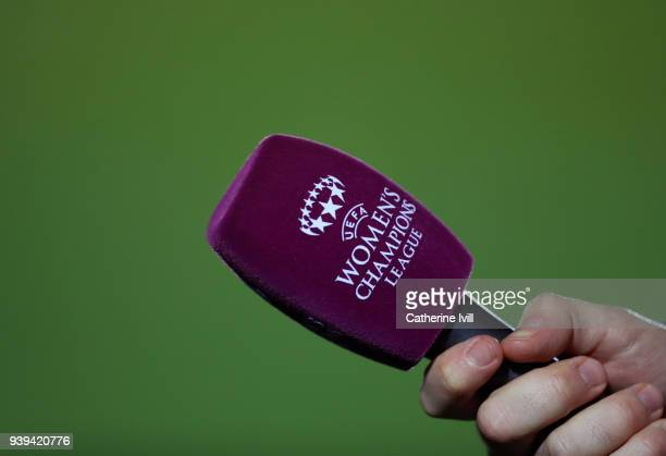 Detail of the competition logo on a microphone during the UEFA Womens Champions League QuarterFinal Second Leg between Chelsea Ladies and Montpellier...