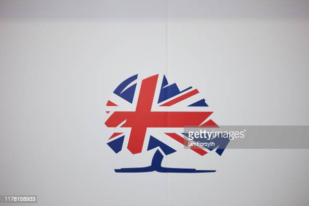 Detail of the Conservative Party logo on the second day of the Conservative Party Conference at Manchester Central on September 30, 2019 in...