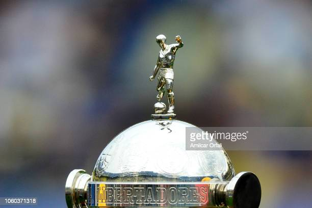 Detail of the Copa Libertadores Trophy during the first leg match between Boca Juniors and River Plate as part of the Finals of Copa CONMEBOL...