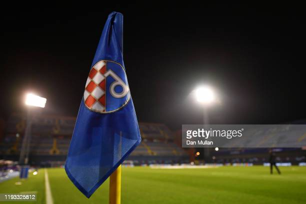 Detail of the corner flag inside the stadium prior to the UEFA Champions League group C match between Dinamo Zagreb and Manchester City at Maksimir...