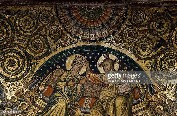 Detail of the Coronation of Mary and Stories of Mary by Jacopo Torriti mosaic in the apsidal basin Basilica of Santa Maria Maggiore Rome Italy 13th...