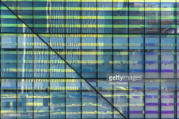 Detail of the crown of dichroic glass on the building. 10 Fenchurch Avenue, London, United Kingdom. Architect: Eric Parry Architects Ltd, 2018.