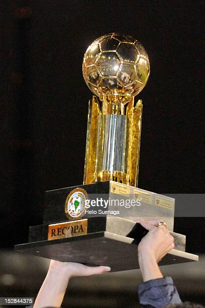 Detail of the cup after the second leg of the final of the Recopa Sudamericana 2012 between Santos and Universidad de Chile as part of the Recopa...