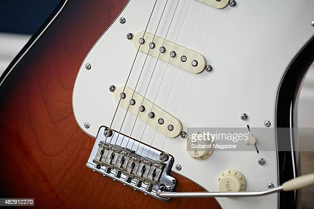Detail of the Custom Shop Fat 50s SingleCoil Strat pickups on a 2015 Fender Limited Edition American Standard Strat With Rosewood Neck electric...