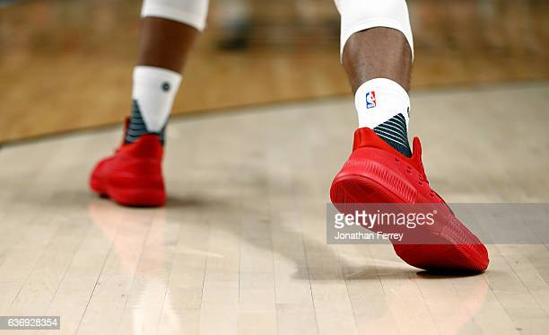 A detail of the D Lillard 3 adidas shoe worn by Damian Lillard of the Portland Trail Blazers during the game aaginst of the Oklahoma City Thunder at...