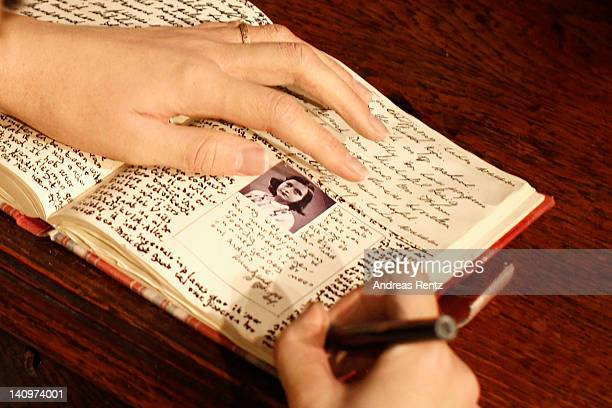 A detail of the diary of the wax figure of Anne Frank and their hideout reconstruction is unveiled at Madame Tussauds on March 9 2012 in Berlin...