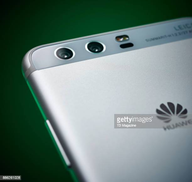 Detail of the dual rear cameras on a Huawei P10 smartphone taken on April 20 2017